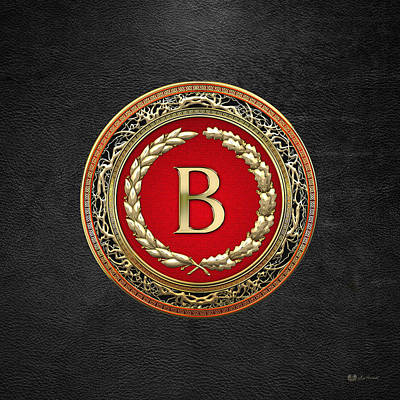 Digital Art - B - Gold Vintage Monogram On Black Leather by Serge Averbukh