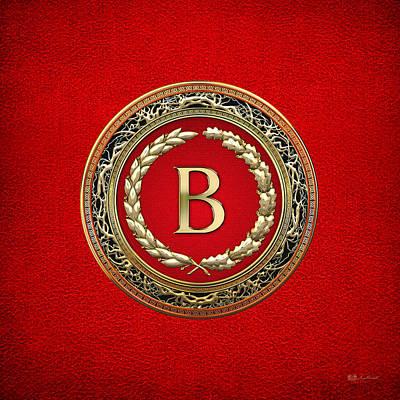 Digital Art - B - Gold Vintage Monogram On Red Leather by Serge Averbukh