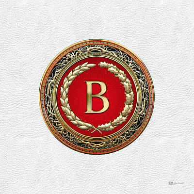 Digital Art - B - Gold Vintage Monogram On White Leather by Serge Averbukh