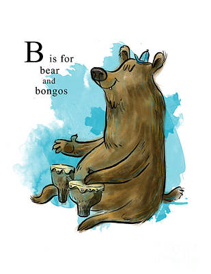 Bongo Mixed Media - B Is For Bear by Sean Hagan