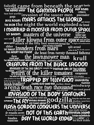 B Movies Science Fiction 20130627bw Art Print