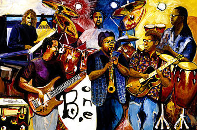 Music Paintings - B. One Jazz Band featuring Erly Thornton by Everett Spruill