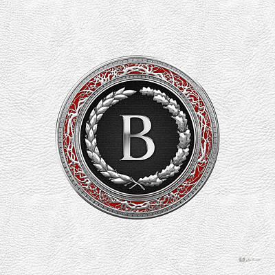 Digital Art - B - Silver Vintage Monogram On White Leather by Serge Averbukh