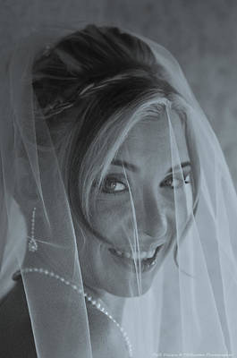Photograph - B W Bride Portrait by Teresa Blanton