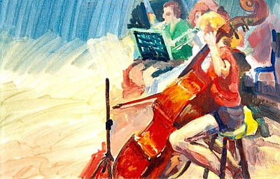 Painting - B03. The Cellist by Les Melton