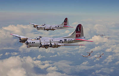 B17- 381st Bomb Group En-route Art Print by Pat Speirs