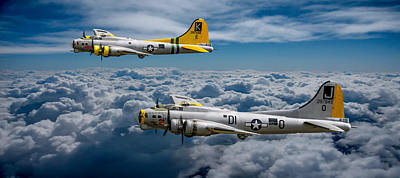 Photograph - B17 Pair Above The Clouds by Ken Brannen