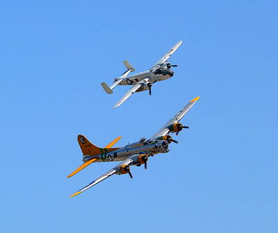 Photograph - B25 Mitchell And B17 Flying Fortress by Jeff Lowe
