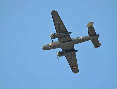 Photograph - B25 Mitchell Wwii Bomber From 70th Anniversary Of The Doolittle Raid Flies Over Florida 21 April 13 by Jeff at JSJ Photography