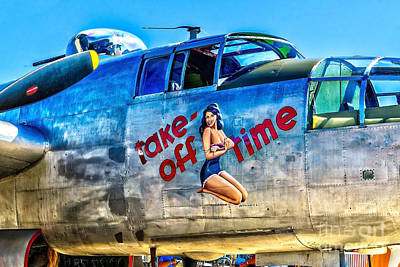 B25 Take Off Time Art Print by Nick Zelinsky