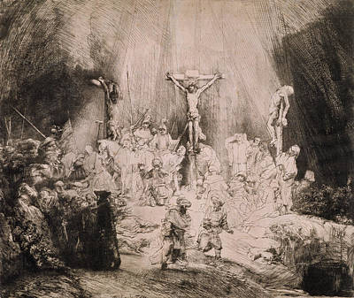 Lord Drawing - The Three Crosses, Circa 1660 by Rembrandt Harmensz van Rijn