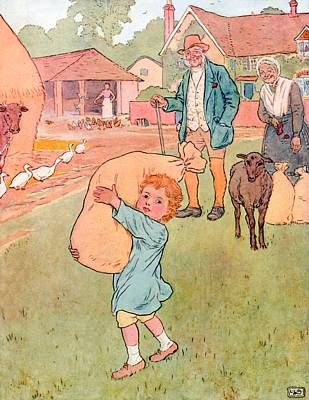 Shepherd Drawing - Baa Baa Black Sheep by Leonard Leslie Brooke
