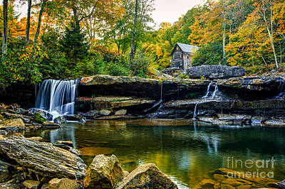 Babcock Falls As The Leaves Turn Art Print by Mark East