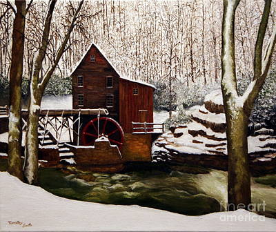 Grist Mill Painting - Babcock Mill In The Snow by Timothy Smith