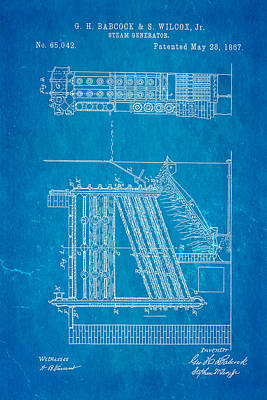Babcock Steam Generator Patent Art 1867 Blueprint Print by Ian Monk
