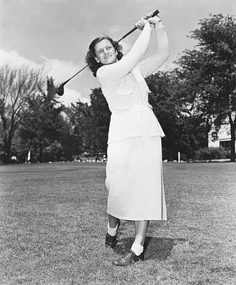 Babe Didrikson Golfing Art Print by Underwood Archives