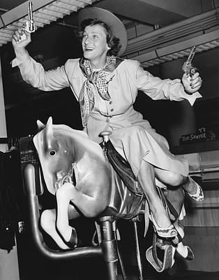 Babe Didrikson On Sidesaddle Art Print by Underwood Archives