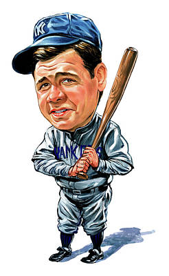 Baseball Art Baseball Painting - Babe Ruth by Art