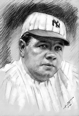 Art Print featuring the drawing Babe Ruth by Viola El