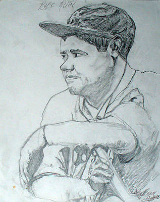 Babe Ruth Drawing - Babe Ruth by Darlene Ricks- Parker