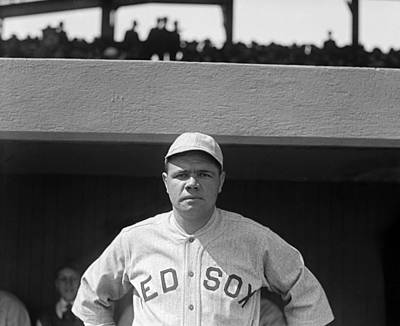 Babe Ruth In Red Sox Uniform Print by Underwood Archives