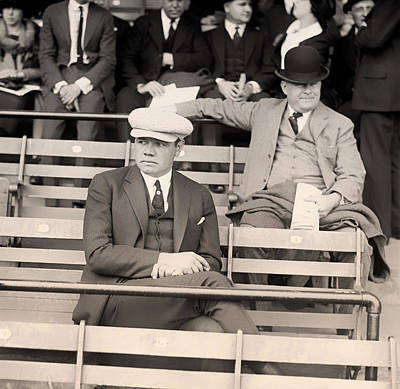 Babe Ruth Vintage Photograph - Babe Ruth In The Stands At Griffith Stadium 1922 by Mountain Dreams