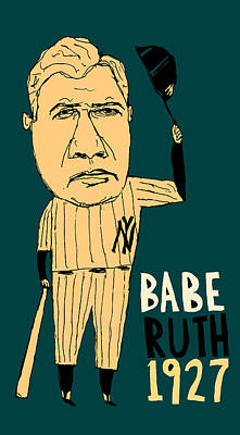 Athletes Royalty-Free and Rights-Managed Images - Babe Ruth New York Yankees by Jay Perkins
