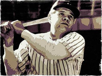 Babe Ruth Painting - Babe Ruth Poster Art by Florian Rodarte