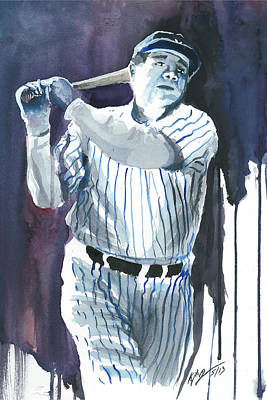 Babe Ruth Painting - Babe Ruth Watercolor 2 by Kyle Gray