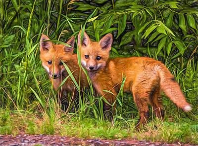 Fox Digital Art - Babes In The Woods 2 - Paint by Steve Harrington