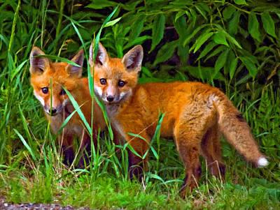 Fox Digital Art - Babes In The Woods Impasto by Steve Harrington