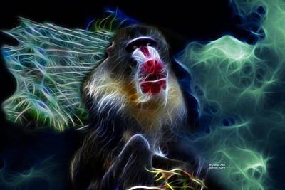 Digital Art - Baboon 4239 - F by James Ahn