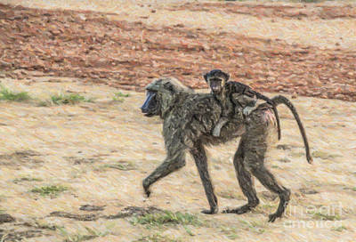 Uganda Digital Art - Baboon Mother And Baby by Liz Leyden
