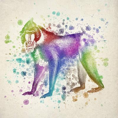 Ape Digital Art - Baboon Splash by Aged Pixel