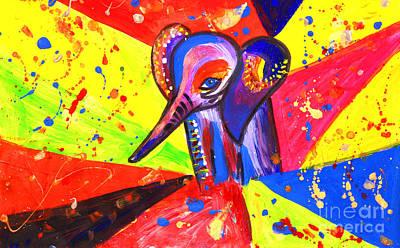 Baby African Elephant Pop Art  Art Print by Julia Fine Art And Photography