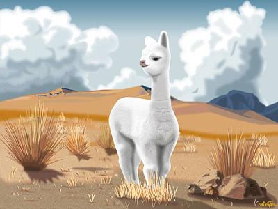 Llama Digital Art - Baby Alpaca Peruvian Andes by Alvaro Valera