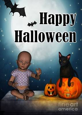Digital Art - Baby And Bats Halloween by JH Designs