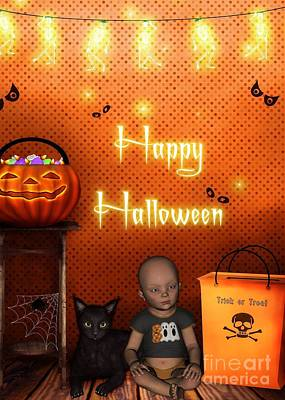 Digital Art - Baby And Kitty Halloween by JH Designs