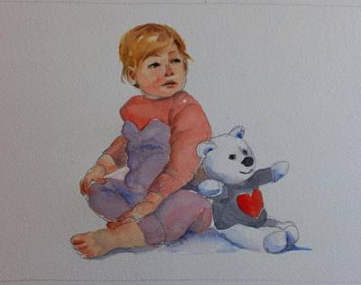 Teddy Bear Watercolor Painting - Baby And Teddy by Janet Butler