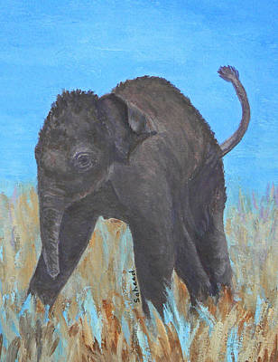 Painting - Baby Asian Elephant Exploring by Margaret Saheed