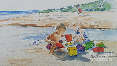 Baby Beach Bums Art Print