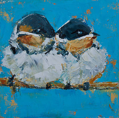 Painting - Baby Birds - Fledglings by Jani Freimann