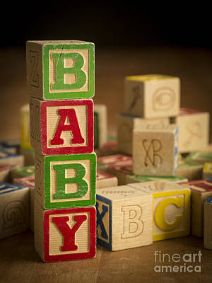 Announcement Photograph - Baby Blocks by Edward Fielding