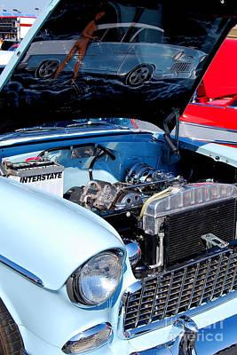 Photograph - baby blue 1955 Chevys by Mark Spearman