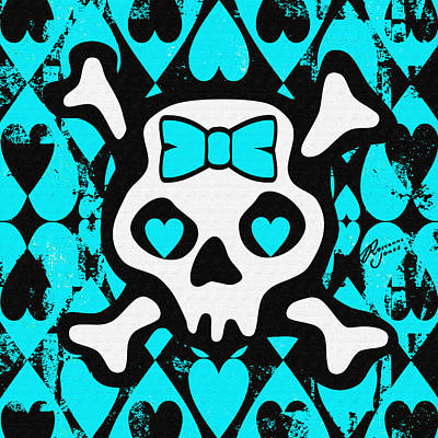 Digital Art - Baby Blue Love Heart Skull by Roseanne Jones