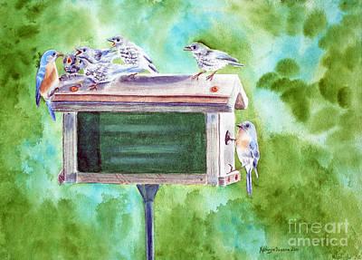 Baby Blues - Eastern Bluebird Family Art Print