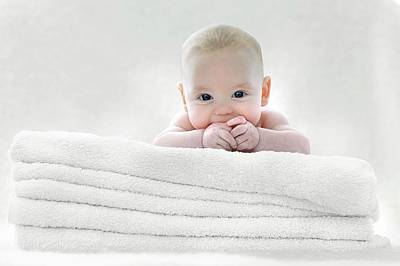 Mischief Photograph - Baby Boy Lying On Towels by Ruth Jenkinson