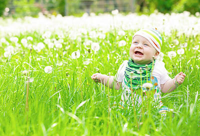 Baby Boy With Dandelions Art Print by Wladimir Bulgar