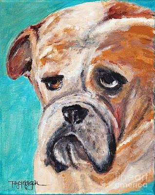 Georgia Bulldog Painting - Baby Bulldog In Blue by Tay Morgan