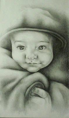 Netting Drawing - Baby Bundled Up by Lisa Marie Szkolnik